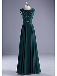 Formal Evening Dress-Dark Green Ball Gown Scoop Floor-length Chiffon / Lace / Charmeuse