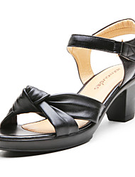 Women's Summer Leather Casual Low Heel Black
