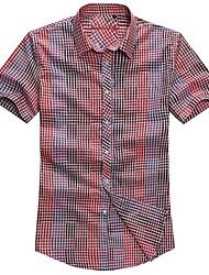 Lesmart Herren Hemdkragen Kurze Ärmel Shirt & Bluse Blau / Rot - MSS6206