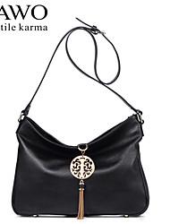 NAWO Women Cowhide Shoulder Bag Black-N153131
