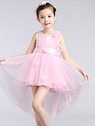 A-line Asymmetrical Flower Girl Dress-Lace / Satin / Tulle Sleeveless