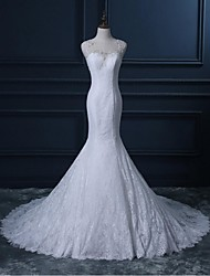 Trumpet / Mermaid Wedding Dress Court Train Scoop Lace with Lace / Sequin / Appliques / Beading