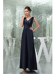 Formal Evening Dress-Dark Navy A-line V-neck Floor-length Stretch Satin