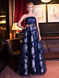 Formal Evening Dress-Dark Navy A-line Strapless Floor-length Organza / Satin / Tulle / Stretch Satin