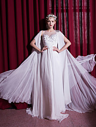 Sheath / Column Wedding Dress Sweep / Brush Train Scoop Chiffon / Organza with Beading / Criss-Cross / Crystal / Draped