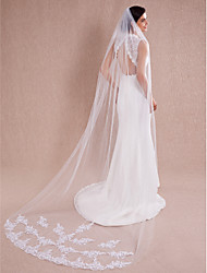 Wedding Veil One-tier Cathedral Veils Cut Edge Lace Applique white ivory