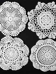 Set of 24 Pcs White  Round Mix 4 Styles Handmade Crochet Table Doilies