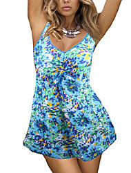 Womens Fashion Stretch Fabric Floral Pattern One Piece Swimdress(3XL-5XL)