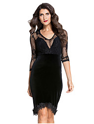 Women's  Sexy V Neck Lace and Velvet Cut out Back Evening Dress