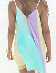 Mulheres Vestido Solto Arco-Íris Acima do Joelho Com Alças
