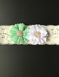 Garter Stretch Satin Flower Ivory