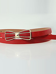Women Leather Bow Simple Skinny Belt,Vintage / Cute / Party / Casual Alloy