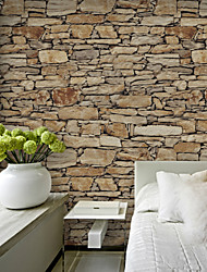 HaokHome® Vintage Brick Stone Wallpaper Rolls Sand/Taupe/Khaki Vinyl Kitchen Wall Paper Murals Realistic Home Decoration