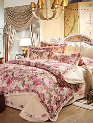 Blumen Bettbezug-Sets 4 Stück Baumwolle Luxuriös Reaktivdruck Baumwolle ca. 1,50 m breites Doppelbett ca. 1,90 m breites Doppelbett1 Stk.