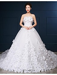 Ball Gown Chapel Train Wedding Dress -Strapless Tulle
