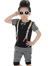 Boy's Cotton Summer Suspenders Grid Style Sport Two-piece