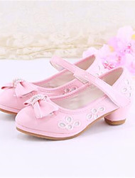 Girls' Shoes Dress Pointed Toe PU Heels Pink / White