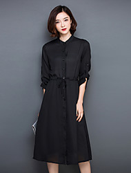 Women's Simple Solid A Line Dress,Shirt Collar Midi Polyester