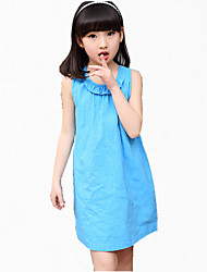 Girl's Blue Dress,Bow Cotton Summer