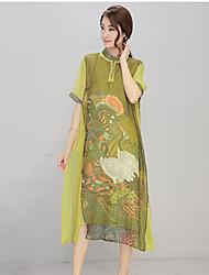 De las mujeres Corte Ancho / Recto Vestido Vintage Estampado Midi Escote Chino Seda / Poliéster