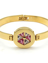 Gold Plated Stainless Steel Circle Haxagon Crystal Bangle