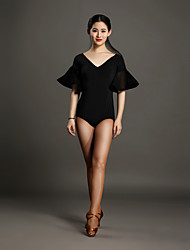 High-quality Viscose with Pleated Latin Dance Leotards for Women's Performance