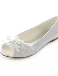 Women's Shoes Stretch Satin Flat Heel Peep Toe / Comfort Sandals Wedding / Party & Evening / Dress Ivory