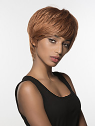 Stylish woman's  Short Straight  Remy Human Hair Hand Tied Top Wig