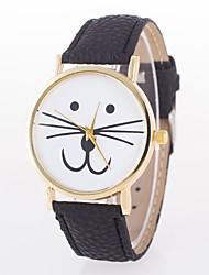 Women's European Style Fashion Cute Cartoon Cat Beard Leather Wrist Watch Cool Watches Unique Watches