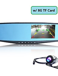 "4.3"" 1080P FHD Rearview Mirror Car DVR Dash Cam Dual Lens Camera Video Recorder+8G TF Card"
