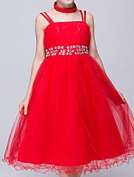 Girl's Cotton Summer Off Shoulder Rhinestone Belt Lace Dress