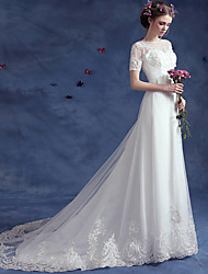 A-line Wedding Dress Court Train Bateau Lace / Tulle with Appliques / Beading / Button / Sash / Ribbon