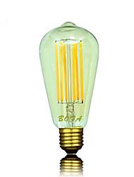 Ampoules Globe LED Gradable / Décorative Blanc Chaud NO 1 pièce ST64 E26 / E26/E27 6W 6 COB 450-650 lm AC 100-240 V