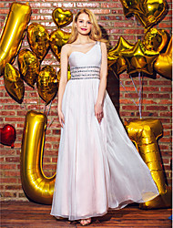 Dress A-line One Shoulder Ankle-length Chiffon with Beading / Side Draping