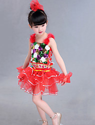 Girl's Polyester Summer Flower Pattern Lace Dance Dress