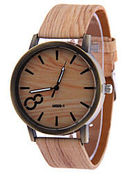 Men's Brown Case Wood Shape PU Leather Band Analog Quartz Wrist Watch Cool Watch Unique Watch Fashion Watch