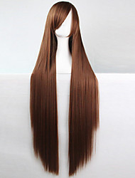 Anime Cosplay Wig Brown 100 CM Long Straight Hair High Temperature Wire