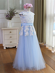 A-Line Floor Length Flower Girl Dress - Tulle Short Sleeves Jewel Neck with Ribbon by XMF