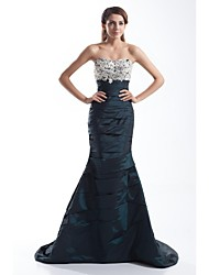 Mermaid / Trumpet Sweetheart Court Train Taffeta Formal Evening Dress with Beading Appliques Buttons Side Draping