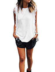 Damen Solide Einfach Lässig/Alltäglich T-shirt,Rundhalsausschnitt Ärmellos Weiß Polyester Dünn