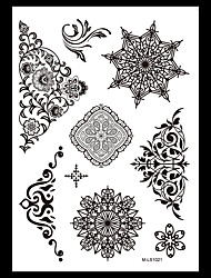 6PCS Black Fake Waterproof Tattoo Temporary Tattoo for Women Body Art Flower Necklace Jewelry Sticker Gift