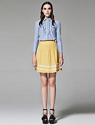 ZigZag® Damen Hemdkragen Lange Ärmel Shirt & Bluse Blau / Weiß / Hellblau - 11441