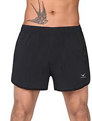 Corrida Shorts / Fundos Homens Respirável / Secagem Rápida Exercicio e Fitness / Corridas / Corrida Esportivo Preto