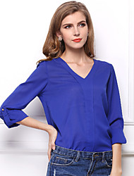The New  Europe and America Beaded V-neck GLong-sleeved Badges Shirt Loose Chiffon Large Size Blouse