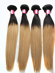 """3pcs / lot 12 """"24"""" brasilianisches Menschenhaar-Erweiterungen ombre Haar 1b / 27 Blond gerade Menschenhaar-Webart 100g / Bündel"""