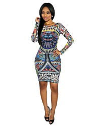 Classic & Traditional Totems Vintage Dress Long Sleeve Medium Length MultiColor Terylene Cosplay
