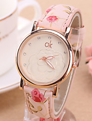 Women's European Style Fashion Printing Flower Garden Geneva Camellia Watch