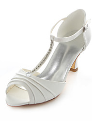 Women's Shoes Stretch Satin Chunky Heel Heels / Round Toe Sandals Wedding / Party & Evening / Dress Ivory