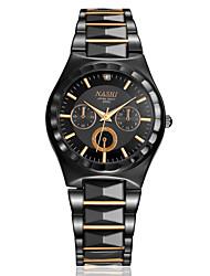 branco / preto caso / ouro negro de aço inoxidável pulseira relógio de vestido dos homens