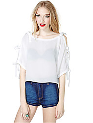 Women's Casual/Daily Sexy / Cute Summer Blouse,Solid Boat Neck ½ Length Sleeve Red / Black Cotton Thin